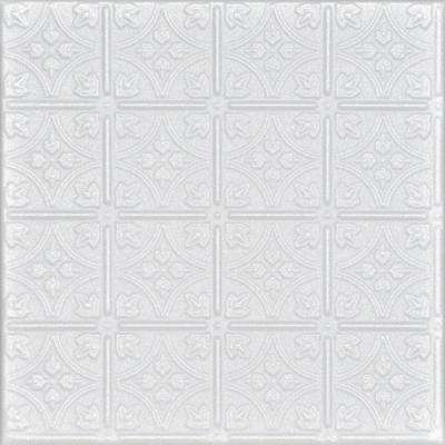 Emmas Flowers 1.6 ft. x 1.6 ft. Glue-Up Foam Ceiling Tile in Plain White (21.6 sq. ft./case)