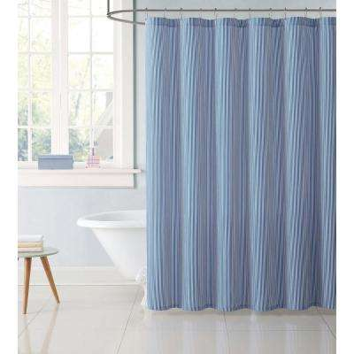 Kids 72 in. Stripe Blue Shower Curtain