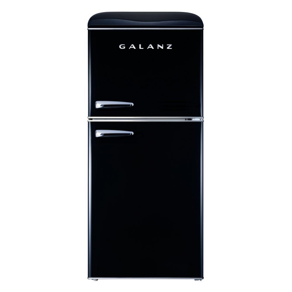 4.0 cu. ft. Retro Mini Refrigerator with Dual Door True Freezer in Black