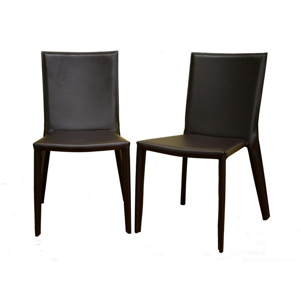 Semele Brown Faux Leather Upholstered Dining Chairs (Set ...