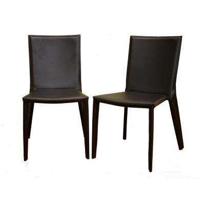 Semele Brown Faux Leather Upholstered Dining Chairs (Set of 2)