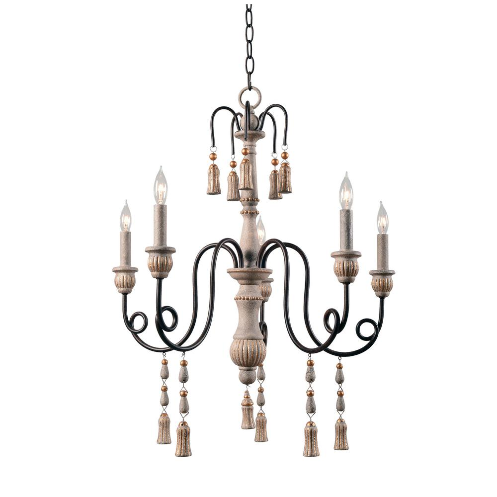 Alexandra 5-Light White Chandelier
