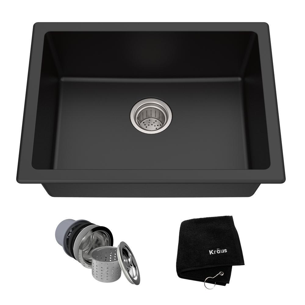 Drop-in/Undermount Granite Composite 24 in. Single Bowl Kitchen Sink Kit in Black