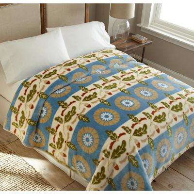 90 in. x 90 in. High Pile Floral Stripe Raschel Knit Coverlet
