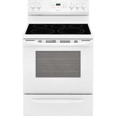 5.4 cu. ft. Electric Range with Self-Cleaning QuickBake Convection Oven in White
