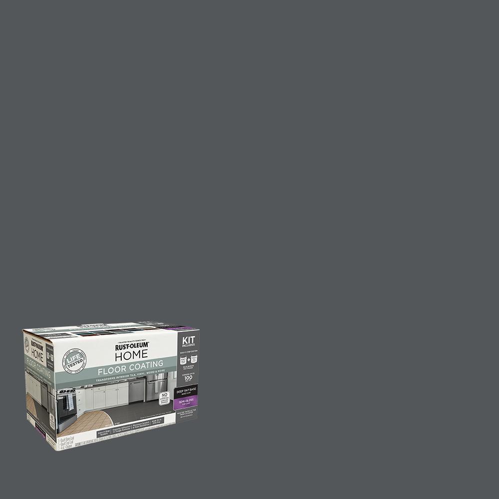 Rust-Oleum Home 1 qt. Charcoal Gray Interior Floor Base Semi-Gloss Clear Coating Kit