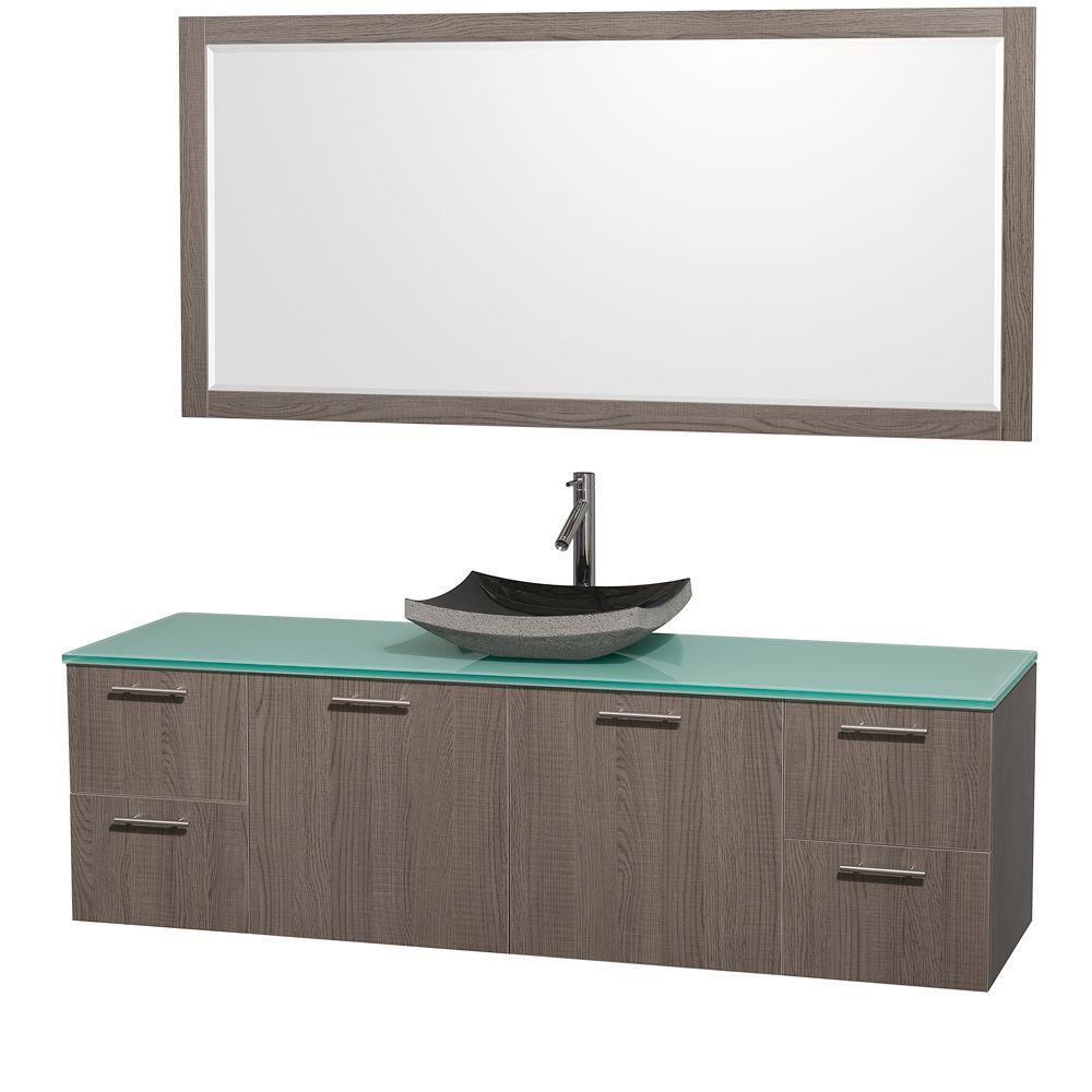 Wyndham Collection Amare 72 in. Vanity in Grey Oak with Glass Vanity Top in Aqua and Black Granite Sink
