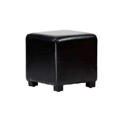 Tyler Black Faux Leather Ottoman Cube