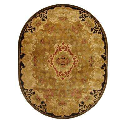 Classic Gold/Cola 8 ft. x 10 ft. Oval Area Rug