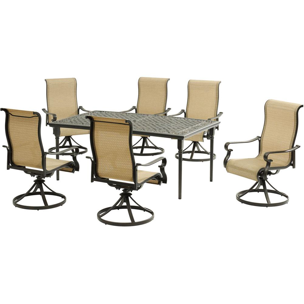 Admirable Hanover Brigantine 7 Piece Aluminum Outdoor Dining Set With A 40 In X 70 In Cast Top Dining Table And 6 Sling Swivel Rockers Frankydiablos Diy Chair Ideas Frankydiabloscom