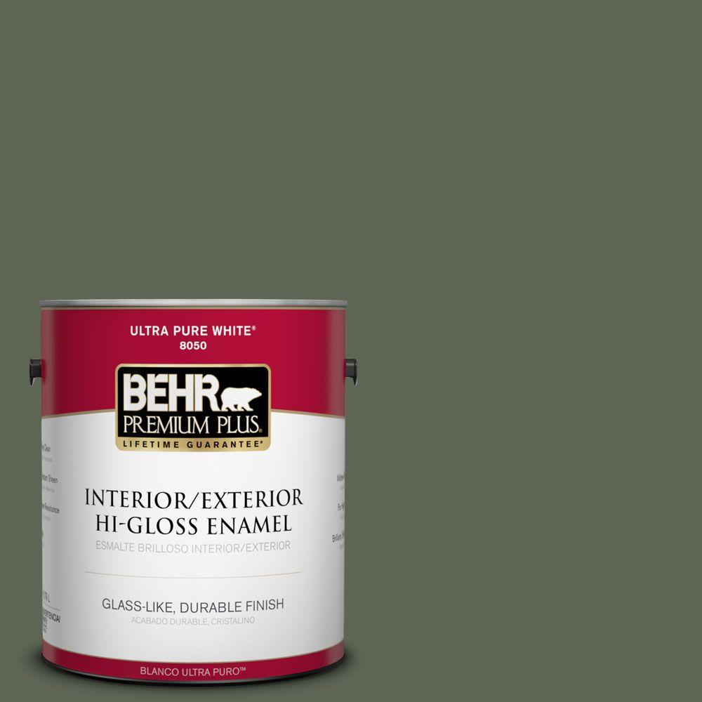 BEHR Premium Plus 1-gal. #BXC-06 Amazon Foliage Hi-Gloss Enamel Interior/Exterior Paint