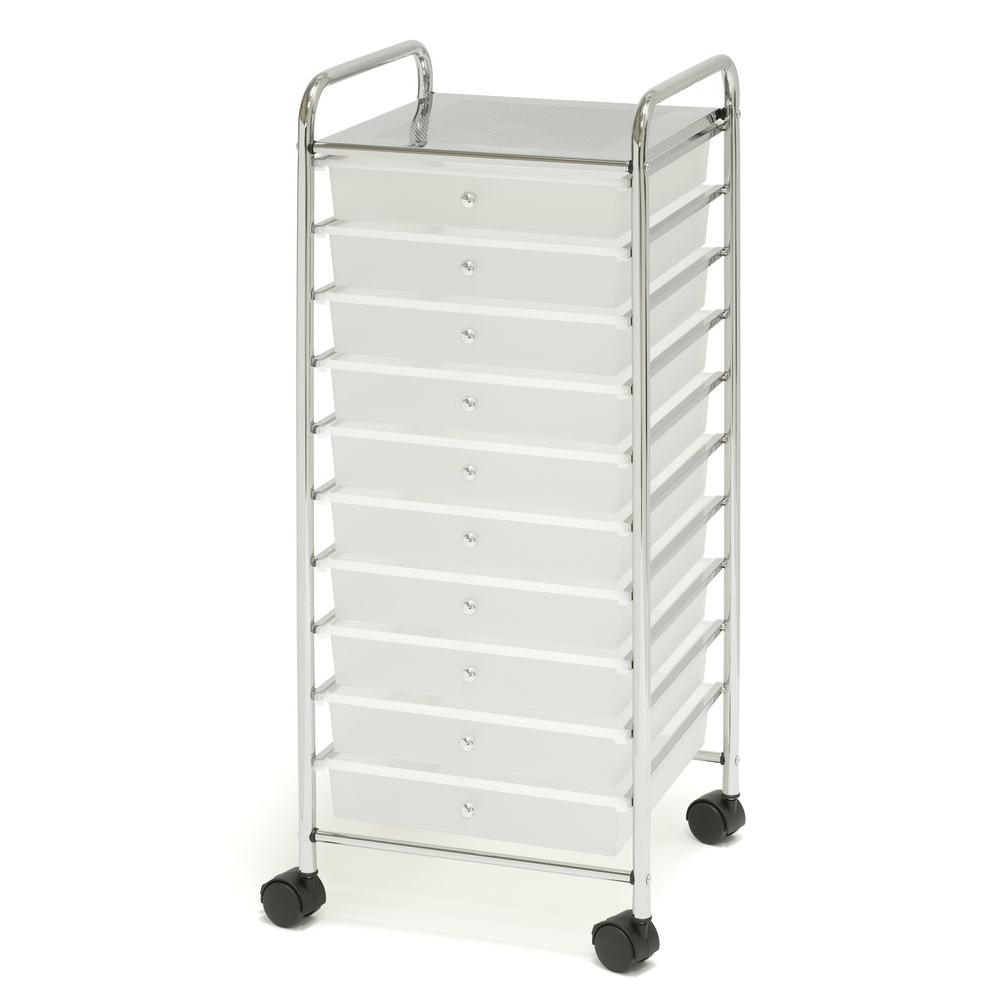 High Quality Frosted White Large 10 Drawer Organizer Cart