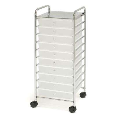 Frosted White Large 10-Drawer Organizer Cart