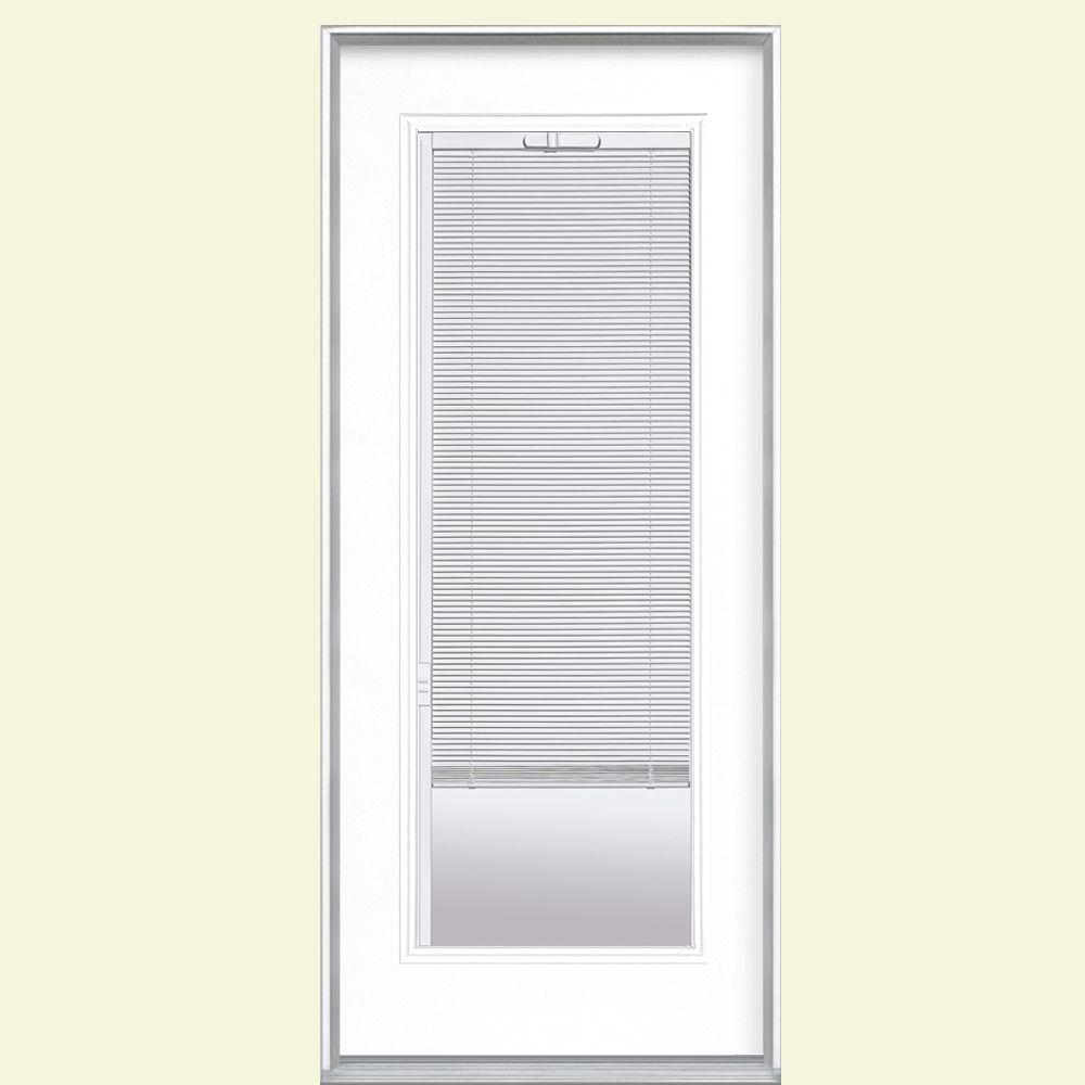 Full Lite Mini Blind Left Hand Inswing Painted Steel Prehung Front Door No  Brickmold 27803   The Home Depot