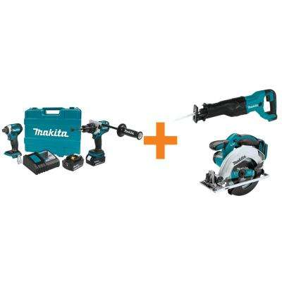 18V LXT Lithium-Ion BL Cordless Hammer Drill/Impact Driver Combo Kit w/BONUS 18V ReciproSaw and 18V 6-1/2in CircSaw
