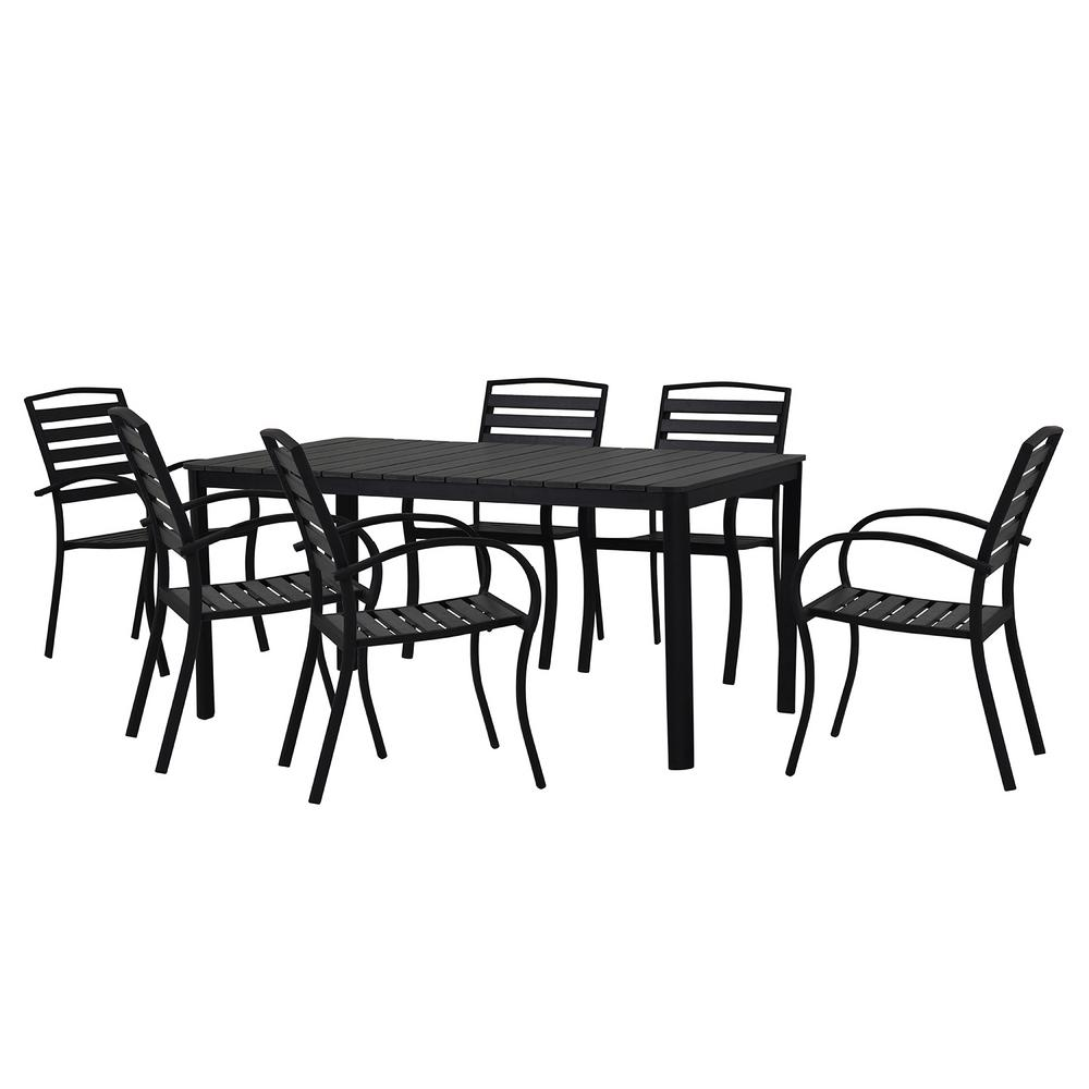 Contemporary Outdoor Dining Sets: Modern Contemporary 7-Piece Black Metal Rectangular