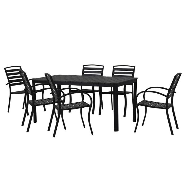 Modern Contemporary 7-Piece Black Metal Rectangular Outdoor Dining Set with Slatted Faux Wood and Stackable Chairs