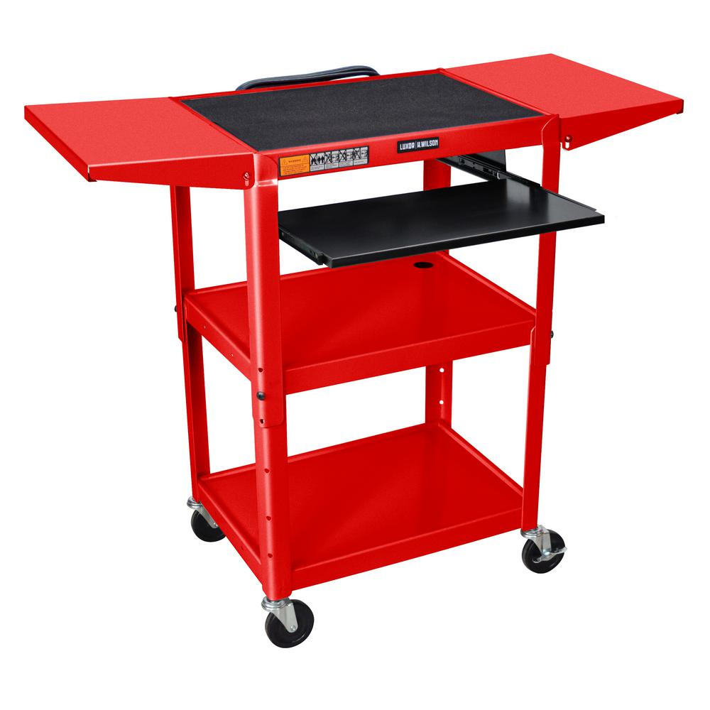 luxor Adjustable Height 24 in. Steel A/V Cart with Pullou...