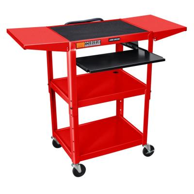 Adjustable Height 24 in. Steel A/V Cart with Pullout Shelf and Drop Leaf in Red