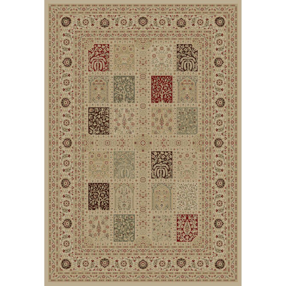 Concord Global Trading Imperial Magnificent Panel Ivory 5 ft. 3 in. x 7 ft. 7 in. Area Rug