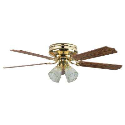 Mandalay 52 in. Polished Brass Ceiling Fan with Light Kit and 5 Blades