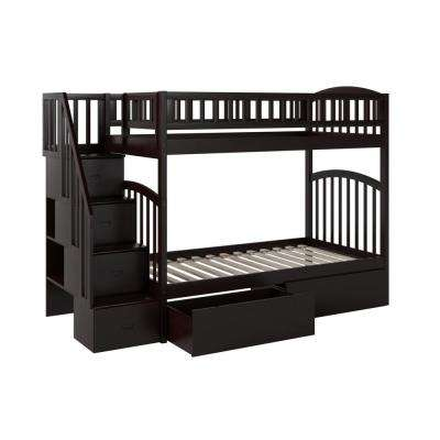 Westbrook Espresso Twin Over Twin Staircase Bunk with 2-Urban Bed Drawers