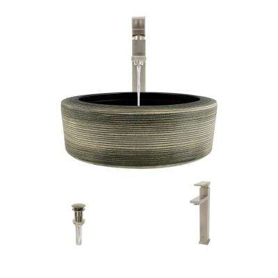 Ceramic Vessel Sink in Gray and Black with 721 Faucet and Pop-Up Drain in Brushed Nickel