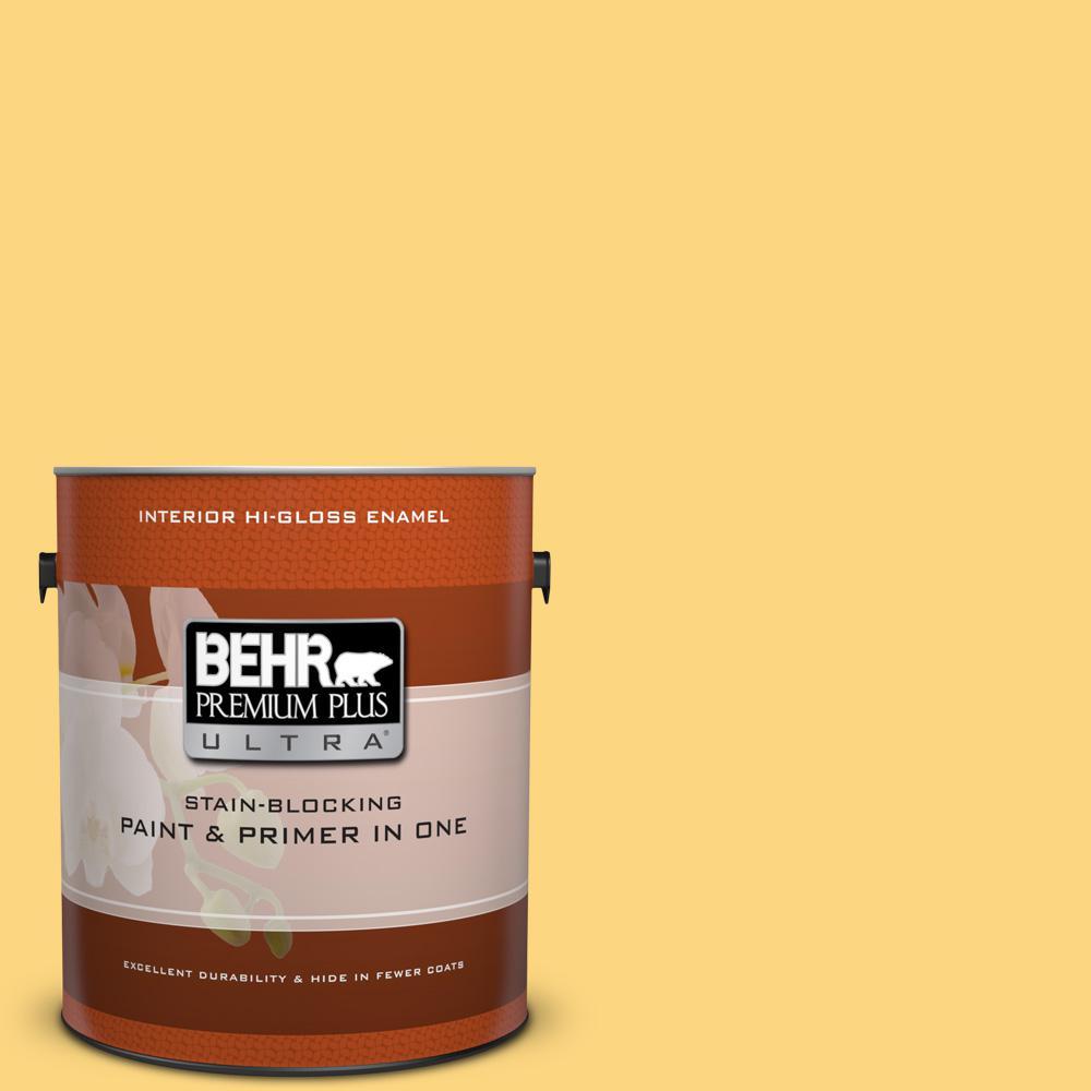 1 gal. #350B-6 Wildflower Honey Hi-Gloss Enamel Interior Paint