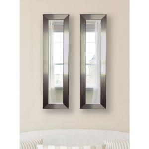 10 inch x 28 inch Silver Petite Mirror (Set of 2-Panels) by
