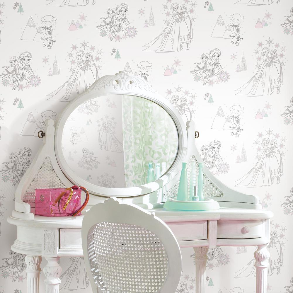Blue Pink White RoomMates RMK11169RL Disney Frozen Peel and Stick Wallpaper