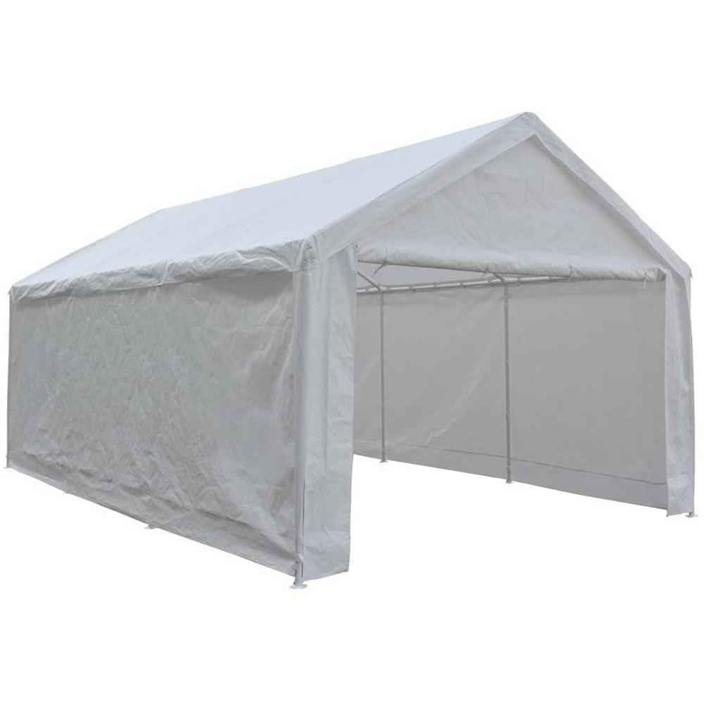Abba Patio 12 ft. W x 20 ft. D x 9.1 ft. White Heavy Duty Carport w/ Sidewalls and Rolled Up Doors