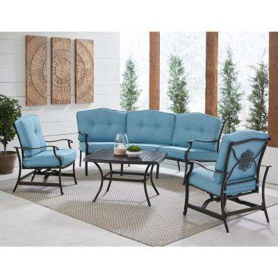 Traditions 4-Piece Aluminum Patio Conversation Set with Blue Cushions, Cast-Top Coffee Table, Sofa and 2-Rockers
