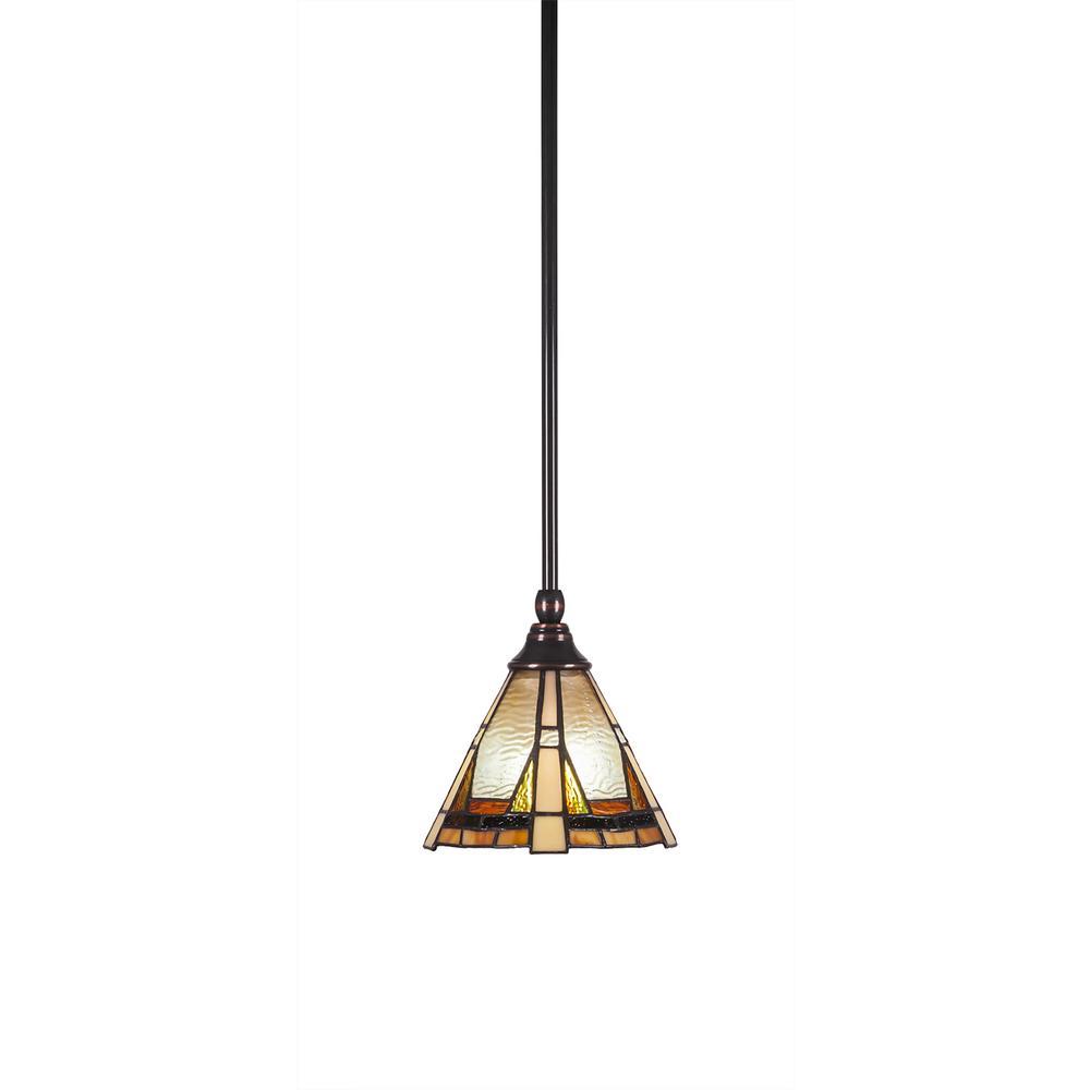 Filament Design 1 Light Black Copper Mini Pendant With 7 In Zion Tiffglass Glass