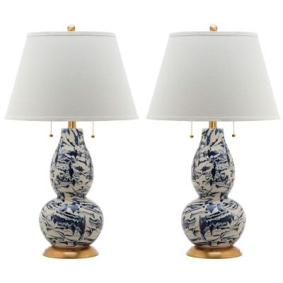 Color 28.5 in. Navy/White Swirl Glass Table Lamp with White Shade (Set of 2)