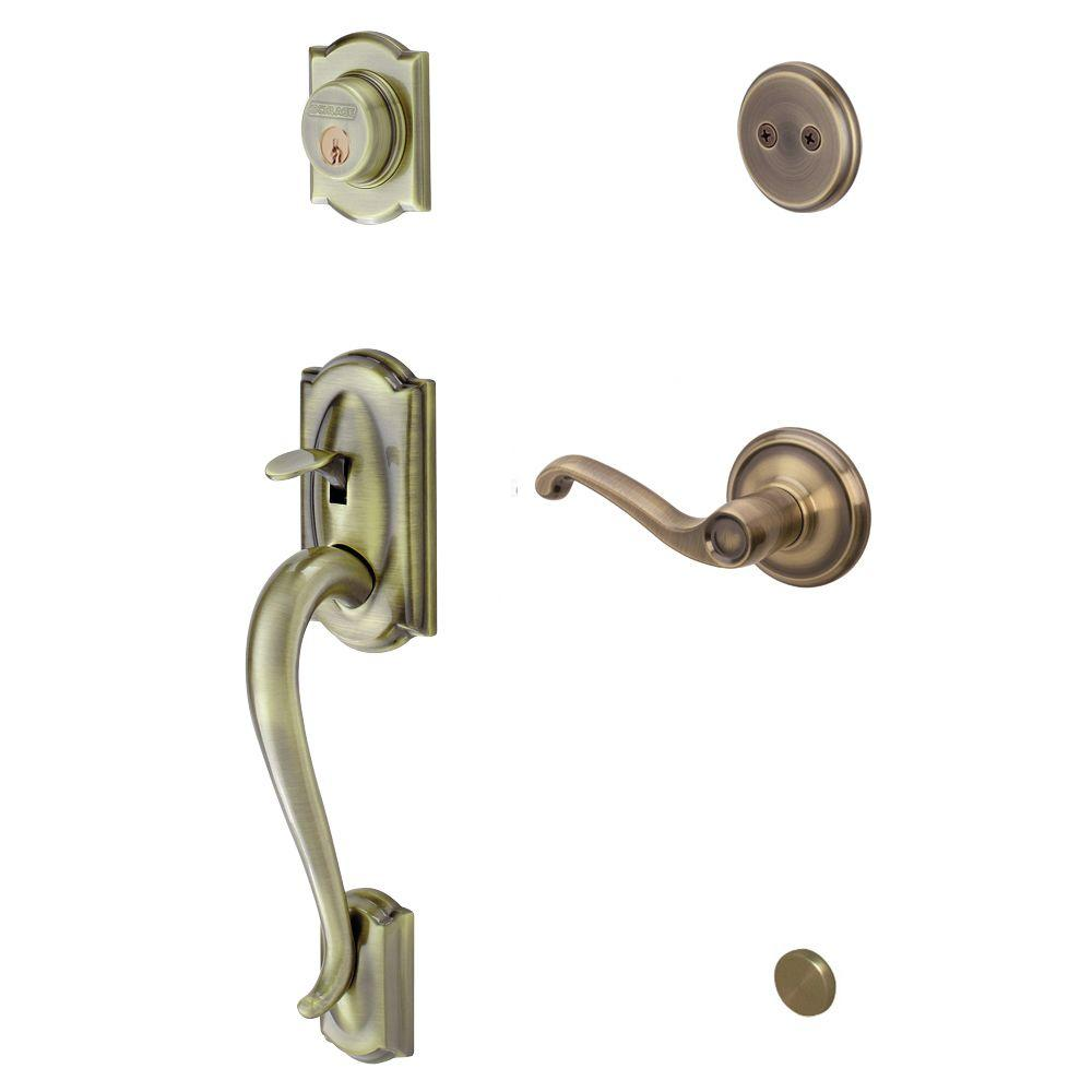 Schlage Camelot In-Active Antique Brass Handleset with Right-Hand Flair Lever