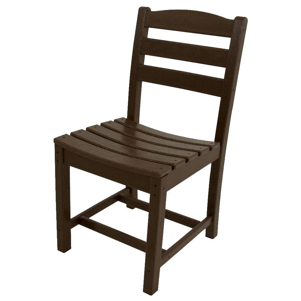 La Casa Cafe Mahogany All-Weather Plastic Outdoor Dining Side Chair