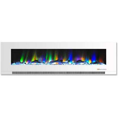 60 in. Wall-Mount Electric Fireplace in White with Multi-Color Flames and Driftwood Log Display