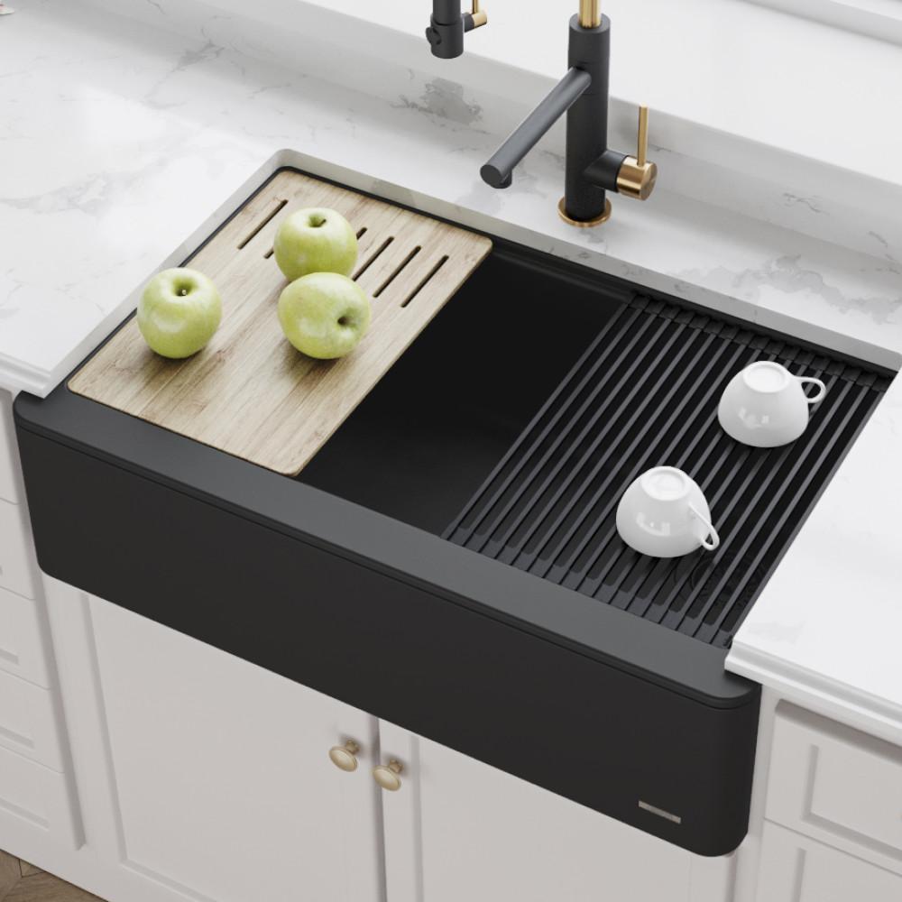 KRAUS Bellucci Farmhouse/Apron-Front Granite/Quartz Composite 33 in. Single  Bowl Kitchen Sink with Cutting Board in Black
