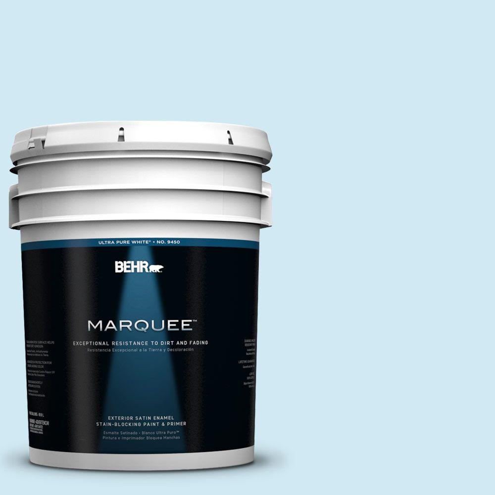 BEHR MARQUEE 5-gal. #540C-1 Mineral Water Satin Enamel Exterior Paint