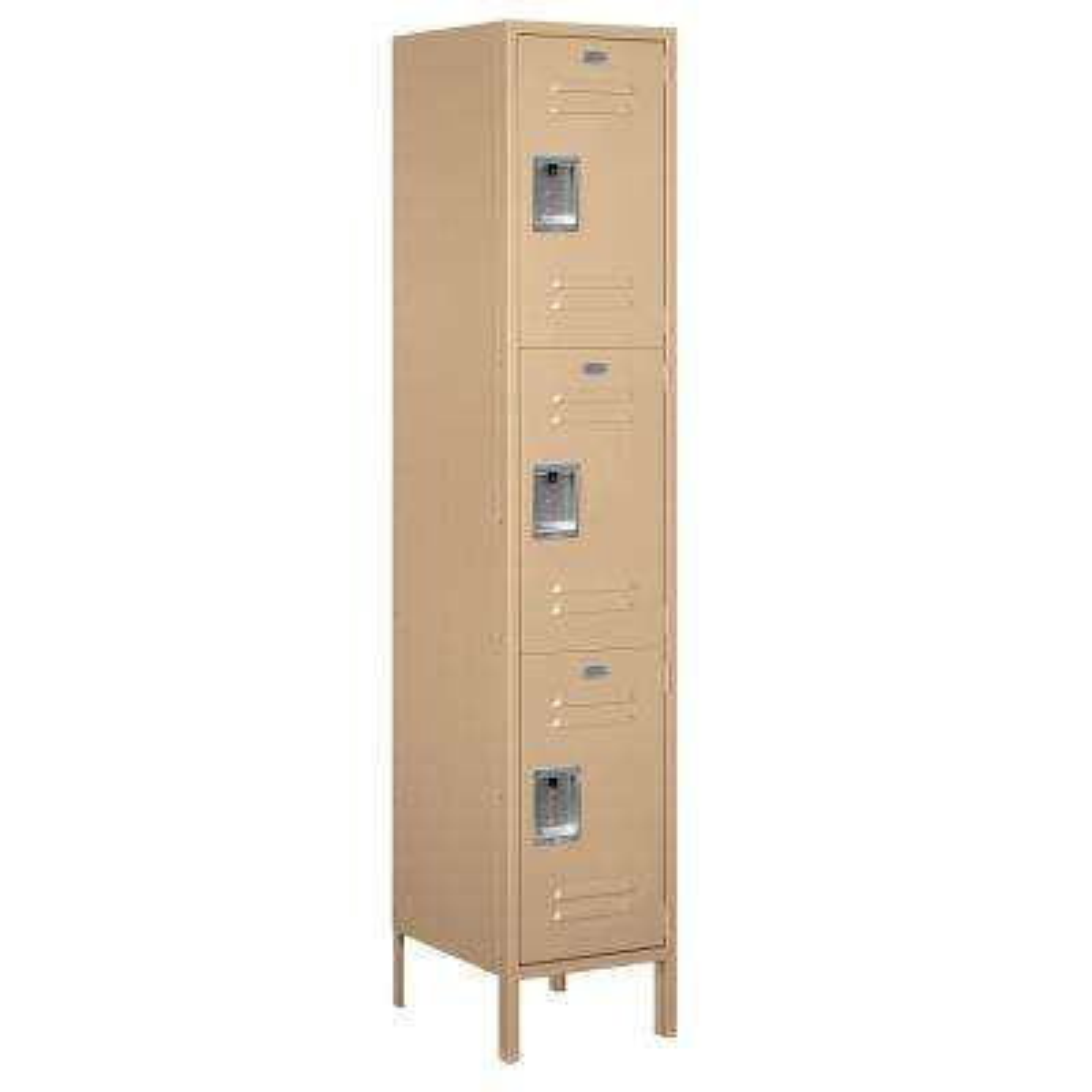 18-53000 Series 3 Compartments Triple Tier 18 In. W x 78 In. H x 18 In. D Metal Locker Unassembled in Tan
