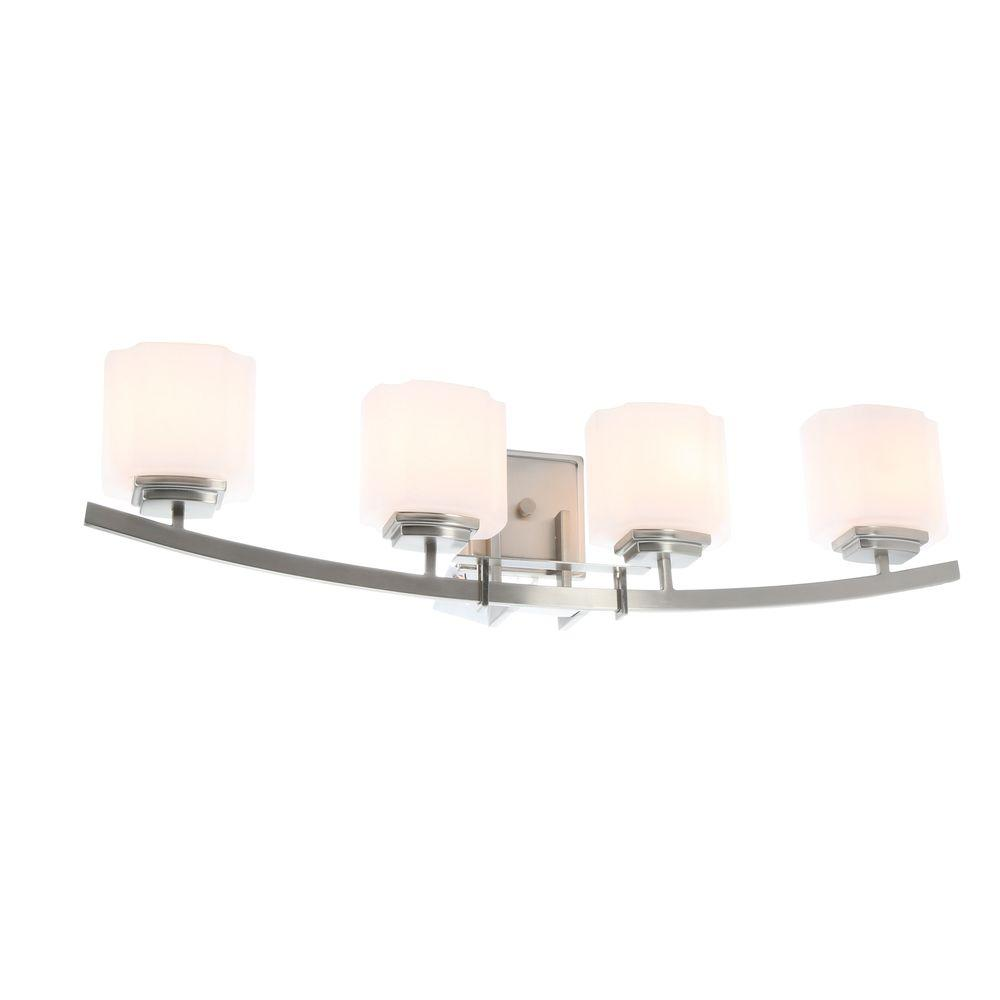 Hampton Bay Architecture 4 Light Brushed Nickel Vanity Light With Etched  White Glass Shades 15042   The Home Depot