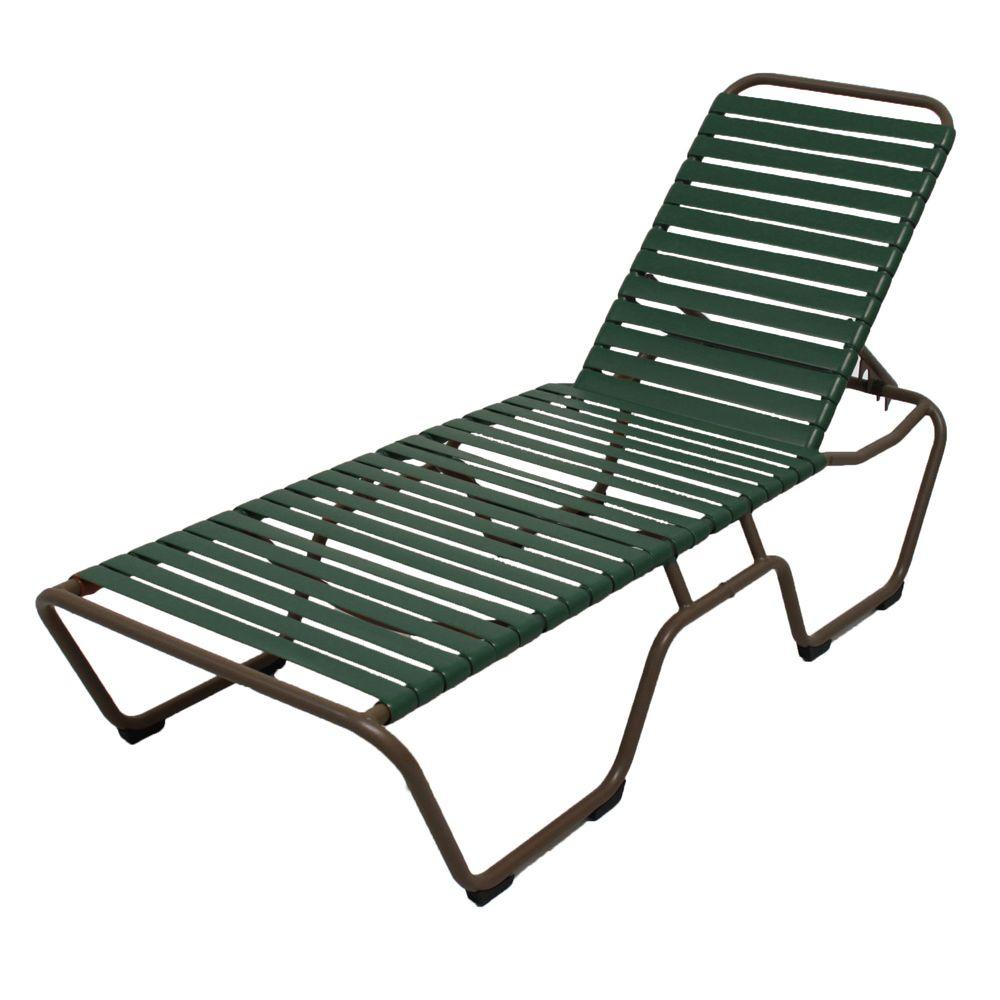 marco island brownstone commercial grade aluminum patio chaise lounge with green vinyl straps 2. Black Bedroom Furniture Sets. Home Design Ideas