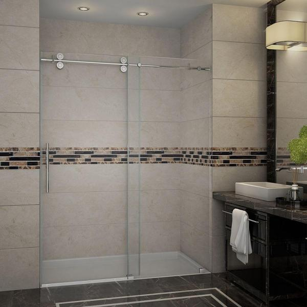 Langham 60 in. x 75 in. Completely Frameless Sliding Shower Door in Chrome with Clear Glass