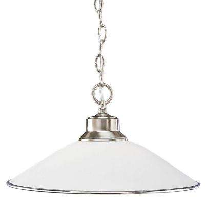 1-Light Brushed Nickel Pendant with Opal Etched Glass