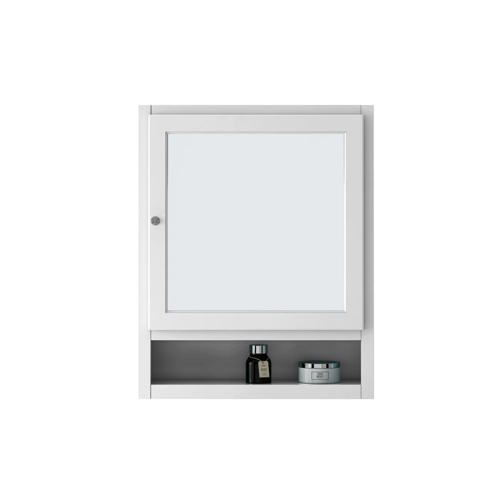 Ridgemore 24 in. W Mirrored 30 in. H x 24 in. W x 6.5 in. D Framed Rectangular Bathroom Vanity Mirror in White