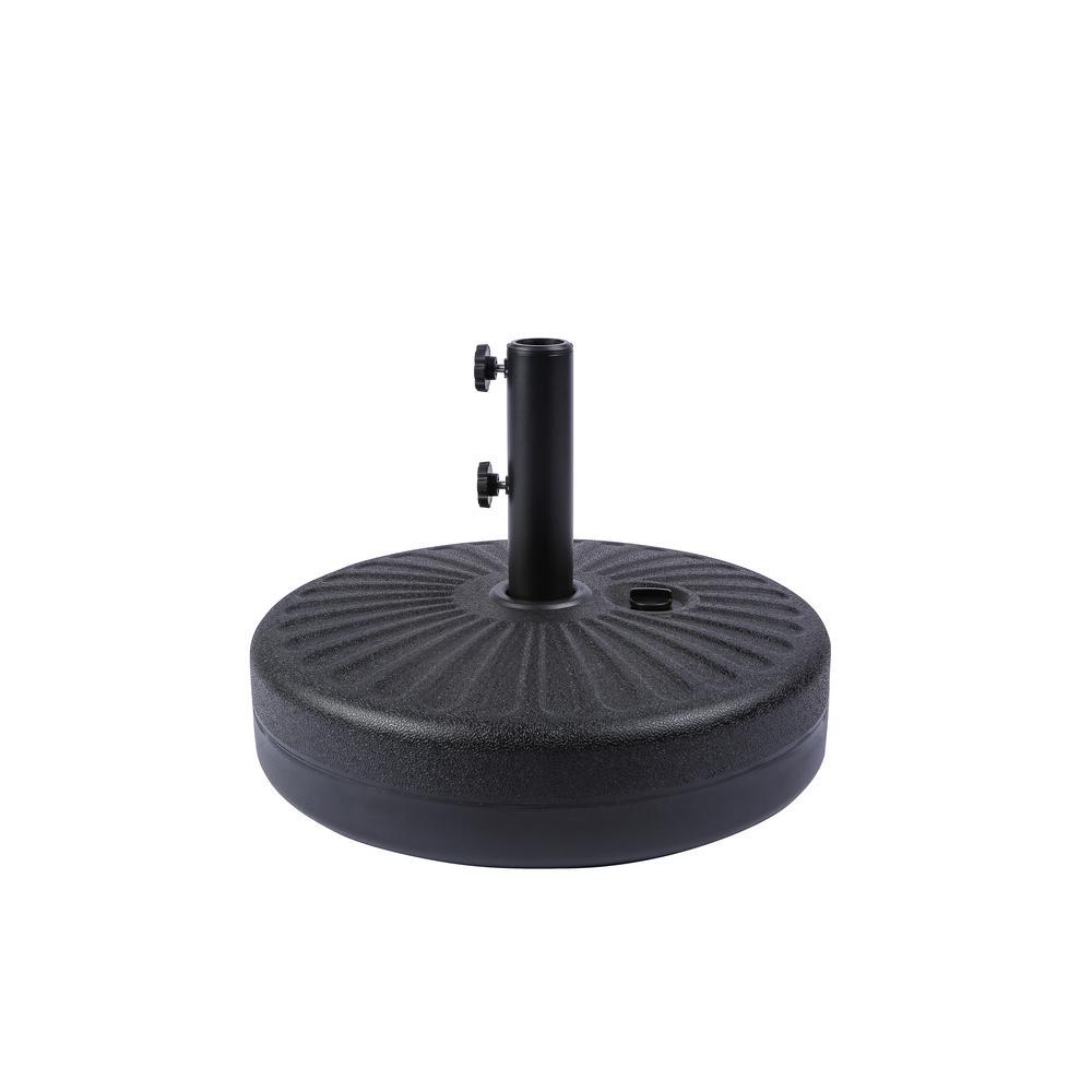 20 in. Round Hard Plastic Free-Standing Patio Umbrella Base in Black