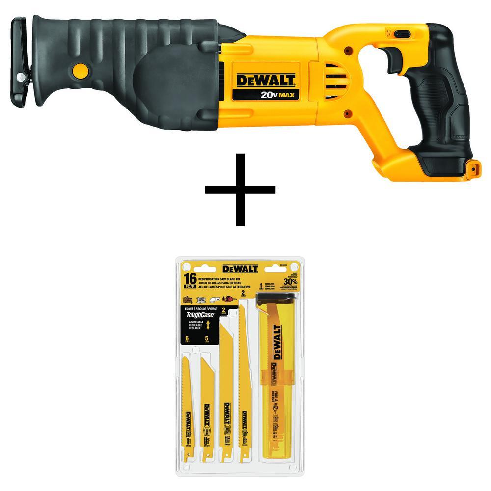 20-Volt MAX Lithium Ion Cordless Reciprocating Saw (Tool-Only) w/ Bonus Bi-Metal Reciprocating Saw Blade Set (16-Piece)