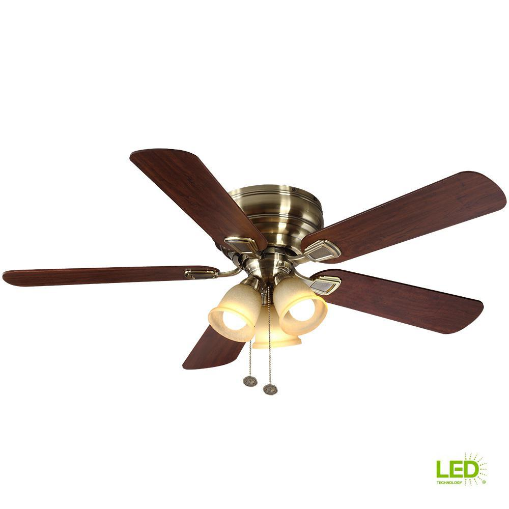 Hampton Bay Fairfield 52 In Led Indoor Antique Br Ceiling Fan With Light Kit