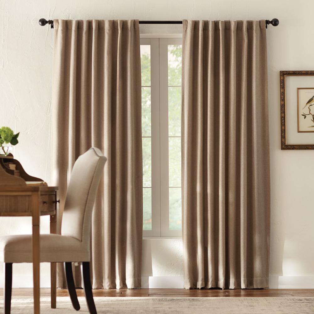 Tweed Room Darkening Window Panel in Taupe - 50 in. W x 95 in. L