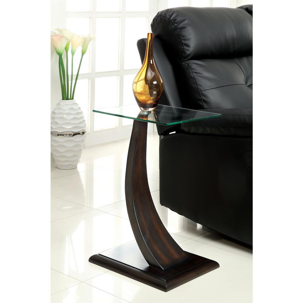 Valon Side Table in Dark Walnut Finish - 8 mm Tempered Glass